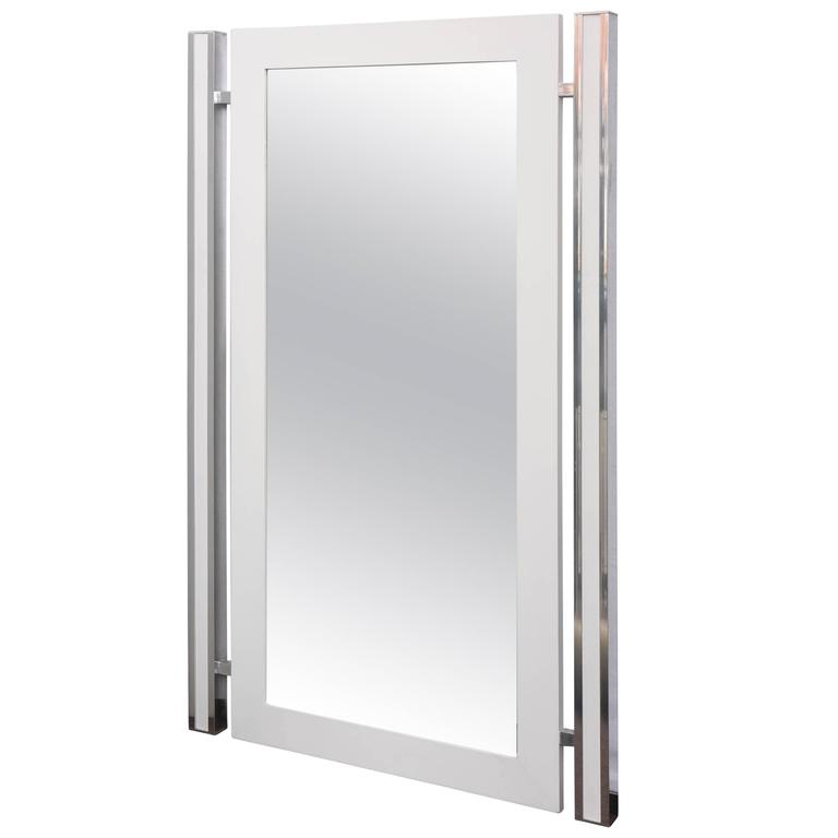 1970s Mod White and Chrome Mirror For Sale