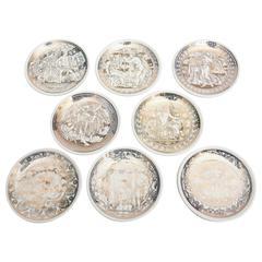 """Set of 8 Italian Fornasetti Gilded Porcelain Coasters Entitled """"Mitologia""""/ SALE"""