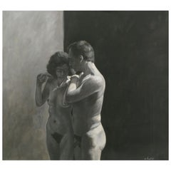 Robert Kinsell Charcoal and Gouache of Nude Couple