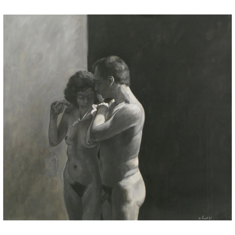 Robert Kinsell Charcoal and Gouache of Nude Couple For Sale