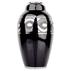 Large French Art Deco Vase with Silver Ornaments, 1930s Modernist Ceramic Design