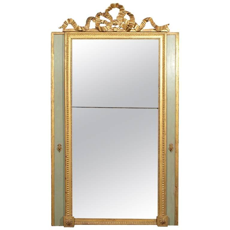 Louis XVI Painted and Gilded Mirror with Ribbon Decoration For Sale