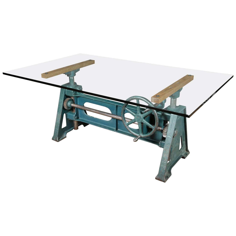 Vintage industrial adjustable crank up cast iron and glass for Cast iron and glass dining table