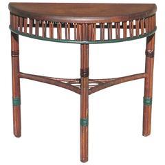 Stick Wicker Demilune Table