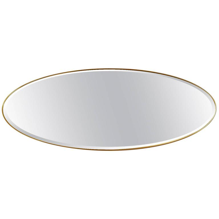 Long Oval Brass Mirror, Italy, 1950s For Sale