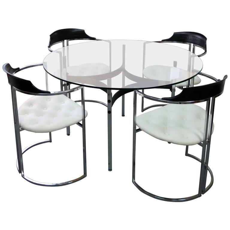 midcentury chrome dining table and four chairs at 1stdibs