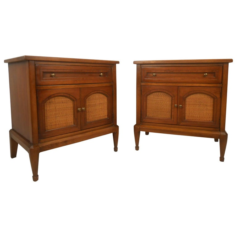 Pair of Midcentury Cane Front Nightstands