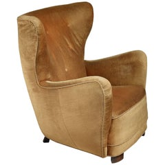 Mogens Lassen 'Style' Lounge Chair with Velour Upholstery, Denmark, 1940s