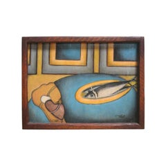 """1921, Original Oil Painting by Saarty """"Two Fish on Plate"""""""