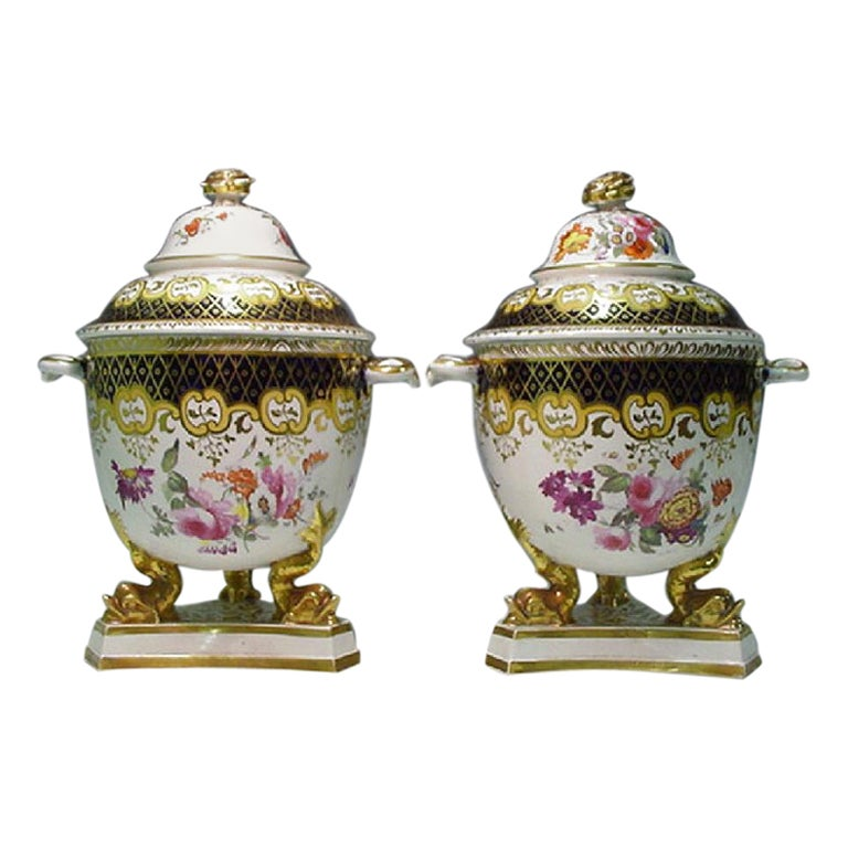 Regency Ridgway Porcelain Fruit Coolers, Covers and Liners, 1820-1830