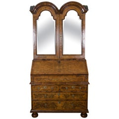 18th Century Queen Anne Period Walnut Double Dome Bureau Bookcase