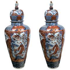 Large Pair of Imari Style Porcelain Lidded Vases