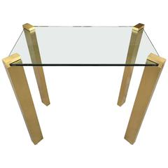 Modernist Solid Brass Console Table