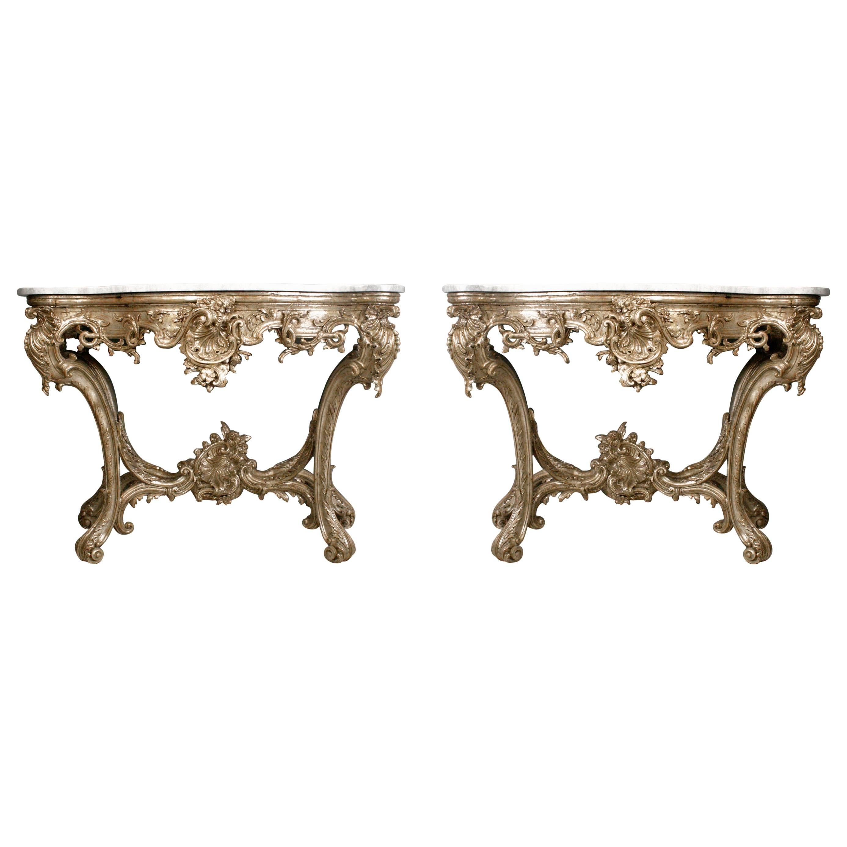 Superb Pair of 18th Century Italian Rococo Consoles with Marble Tops