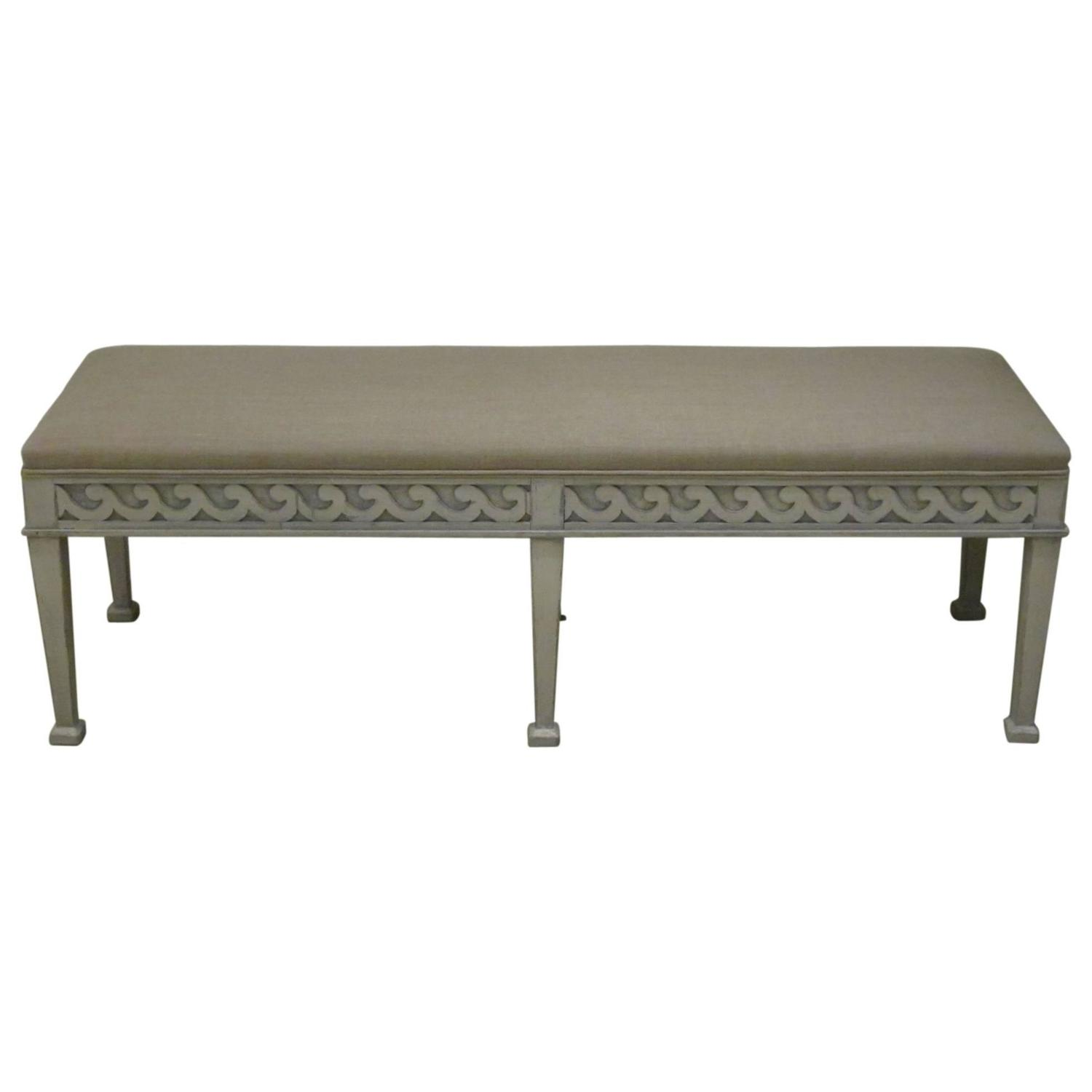 Gustavian Style Upholstered Bench England Contemporary