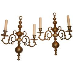 Pair of Large Dutch Brass Sconces