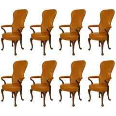 Set of Eight Queen Anne Style Beige Leather Upholstered Walnut Armchairs