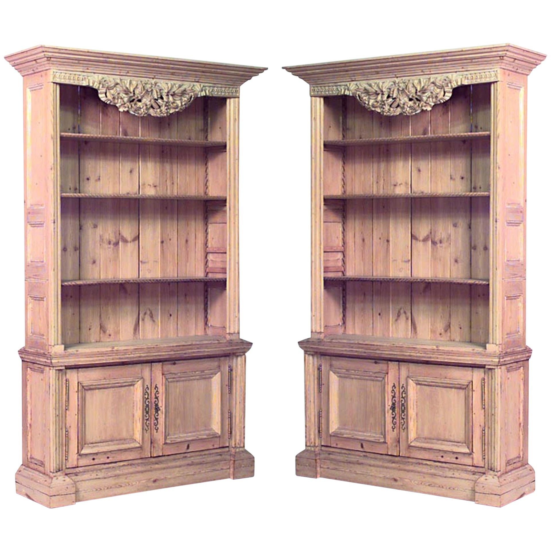 Pair of 19th Century English Country Stripped Pine Bookcase Cabinets