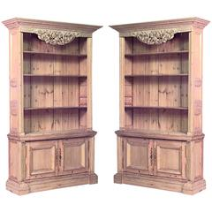 Pair of Turn of the Century English Country Stripped Pine Bookcase Cabinets