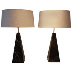 Black Obelisk Table Lamps, Italy, 1970s