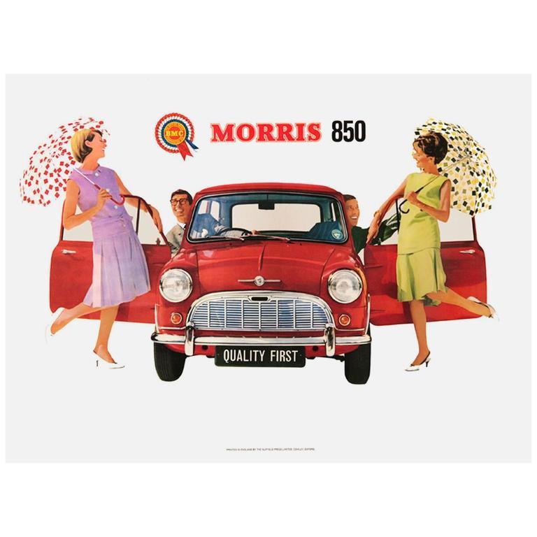 "Original Vintage Advertising Poster for the Iconic British Car ""Morris 850 Mini"""
