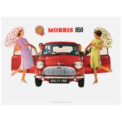 "Original Vintage Advertising Poster for the Iconic British Car ""Morris 850 Mini"""