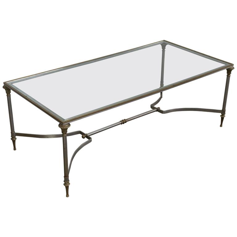 Iron and Brass Coffee Table in the Style of Maison Jansen For Sale