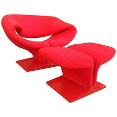 Pierre Paulin Ribbon Chair and Ottoman