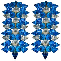 Pair of Murano Glass Sconces Designed by Regis Royant