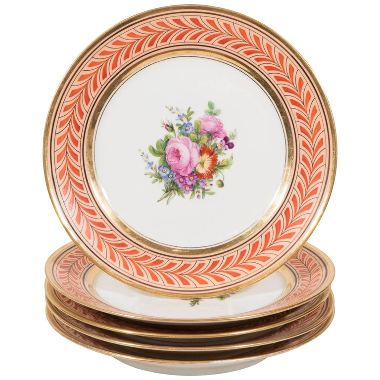 Set of Antique French Porcelain Plates Hand-Painted IN STOCK For Sale