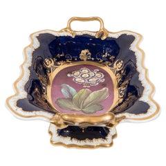 Antique English Porcelain Fruit Bowl Cobalt Blue and Purple Made circa 1810