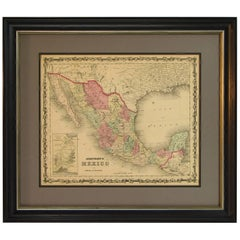 Map of Mexico by A. J. Johnson, Antique Atlas Map, circa 1861
