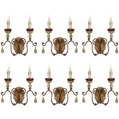 Six Two-Arm Italian Style Carved Wood and Tole Sconces with Lovely Worn Patina
