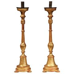 Pair of 19th Century Italian Hand-Carved Wooden Gold Leaf Altar Candlesticks