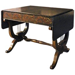 English Late 19th Century Black Lacquer Sofa Table with Chinoiserie Decoration