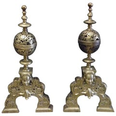 Pair of 19th Century Brass Louis XIV Style Andirons
