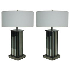 Pair of Mid-Century Modern Mirrored Skyscraper Table Lamps by Paul Frankl