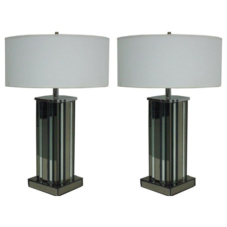 Pair of Mid-Century Modern Mirrored Skyscraper Table Lamps by Paul Frankl For Sale