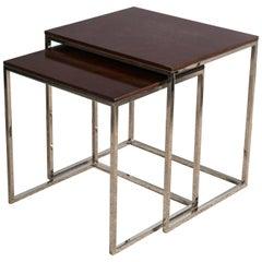 """Brook Street"" Nesting Tables Cote D'Azur Finish Mahogany Polished Steel Legs"