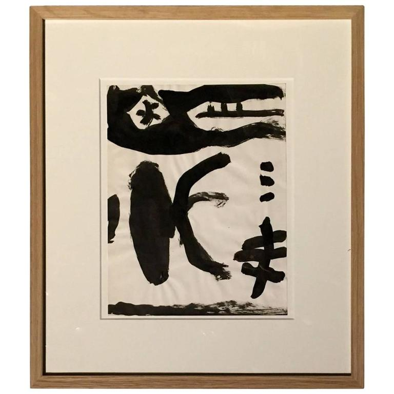 Artist Jacques Nestle Black and White Ink Painting, France, Mid-Century For Sale