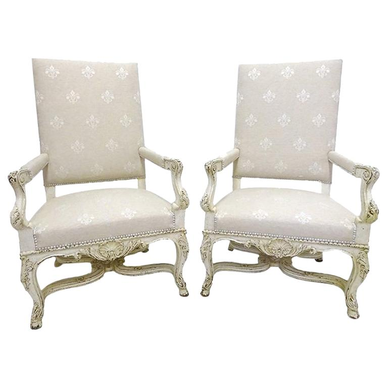 Pair of 19th Century Louis XIV Carved Painted Armchairs with Fleur-de-Lys Fabric For Sale