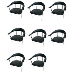1980s Chrome and Black Rubber Dining Chairs, a Set of Eight