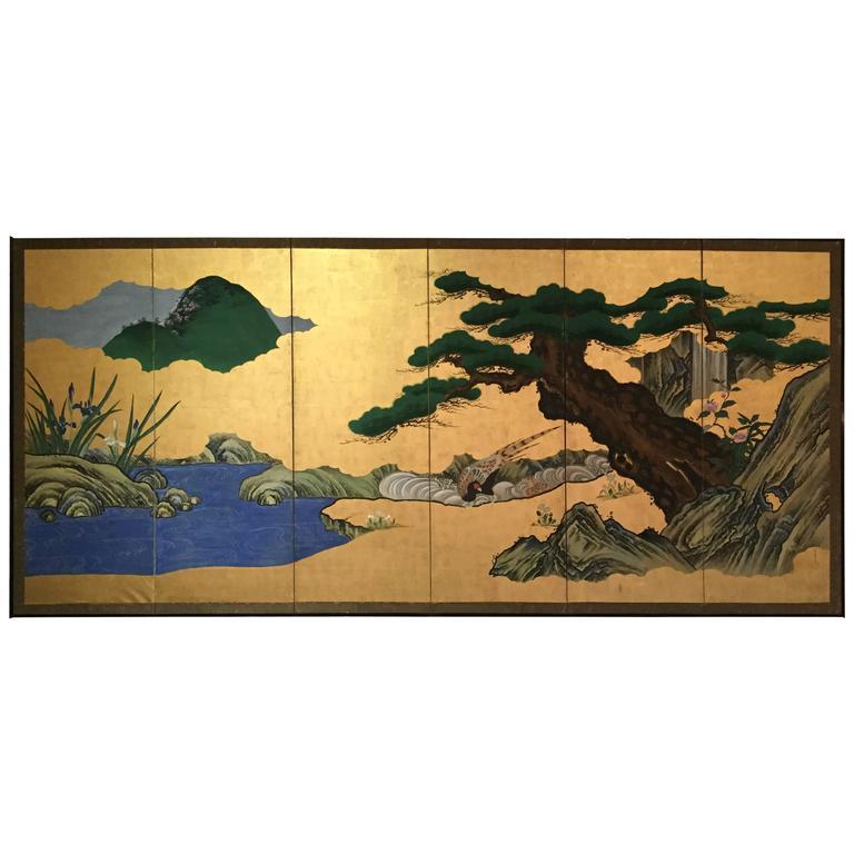 Japanese Gold Byobu Folding Screen Flowers And Birds 18th