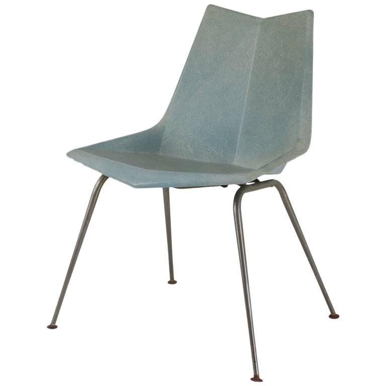 Paul McCobb Blue-Grey Origami Side Chair, USA, 1950s