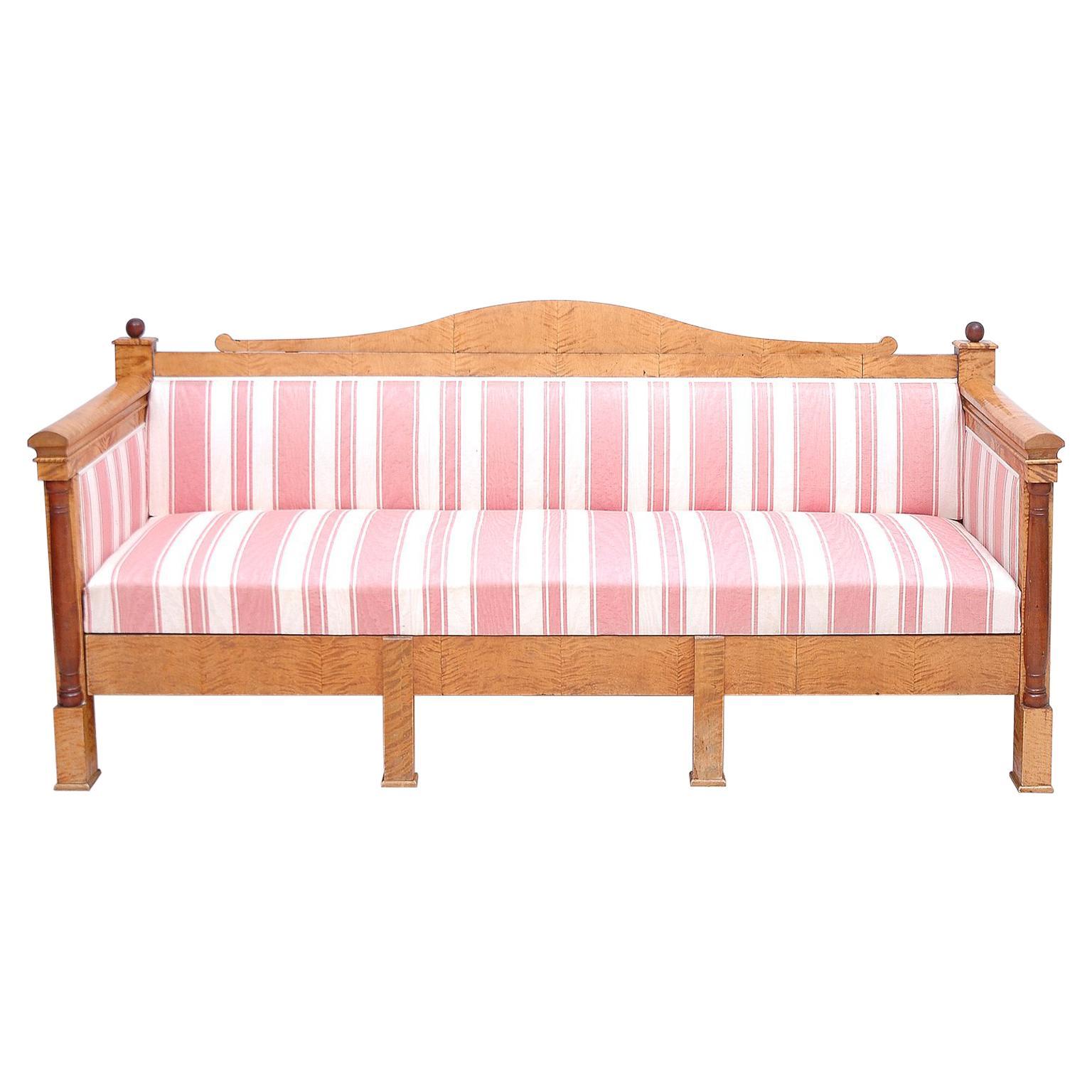 Scandinavian Biedermeier Sofa or Upholstered Bench in Birch, circa 1830