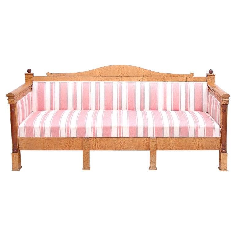Scandinavian Biedermeier Sofa or Upholstered Bench in Birch, circa 1830 For Sale