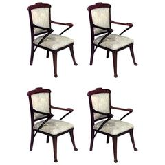 Set of Four French Art Nouveau Open Armchairs