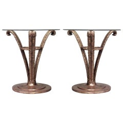 Pair of French Mid-Century Gilt Triple Plume End Tables