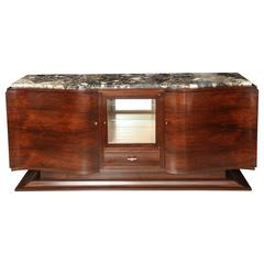 Large French Art Deco Rosewood and Mahogany Sideboard with Marble Top
