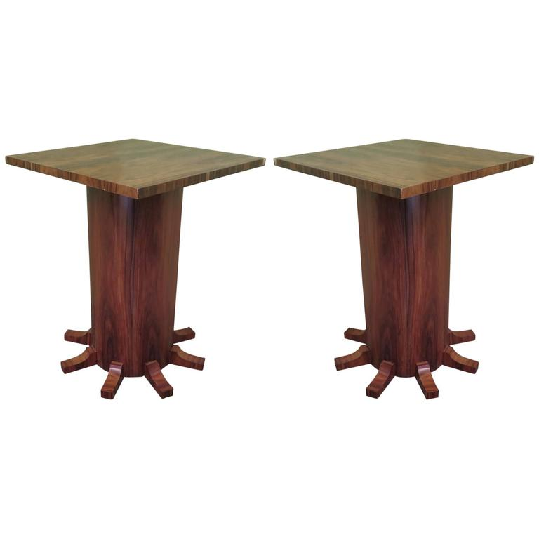 Pair of  1920 Square Walnut Art Deco Side Tables